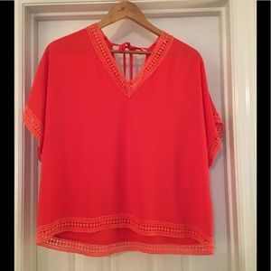 🌿Orange Boho Top Large Double Vee AKOZ